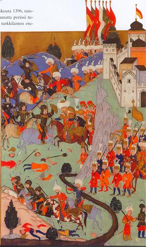 Османска гравюра на битката при Никопол. Интересното е, че османската пехота е изобразена с мускети в ръка.