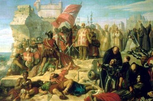 Ла Валет и рицарите благодарят на Бог след изтеглянето на османците