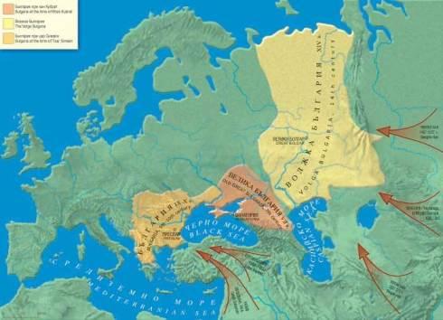 Волжка България, съпоставена със Симеонова България и Старата Велика България на Кубрат.