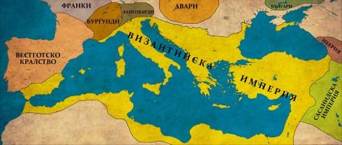 Византийската империя в края на управлението на Юстиниан, 565г.