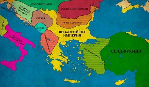 Византия при Алексий I Комнин (1081-1118г.); В защриховано - територии, възстановени от Алексий;