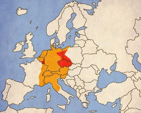 Преки владения на Карл в червено; Земи в неговата сфера на влияние и власт - оранжево;