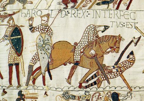 Смъртта на Харолд Годуинсон изобразена върху паното от Байо, разказващо историята на норманите в Британия