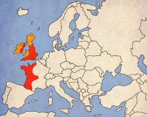Владенията на Хенри II - Крал на Англия, херцог на Нормандия и Аквитания, граф на Анжу, Поатие и Мен. В оранжево - неговите васали - Ирландия, Уелс и Шотландия