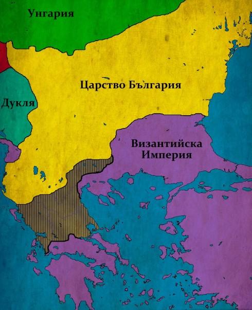 Балканите след битката при Тесалоника; В защтриховано - земи, завладени от Самуил сред победата над византийците;