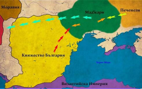 Южната Понтийска степ към 896г. В червено - походът на Симеон; В зелено - нашествието на пече незите; В оранжево - контраатаките на маджарите; В синьо - отстъплението на маджарите към Панония;