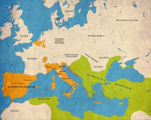 Европа в навечерието на  Лепанто - в оранжево - Свещената лига; в зелено - Османската империя и нейните берберски васали;