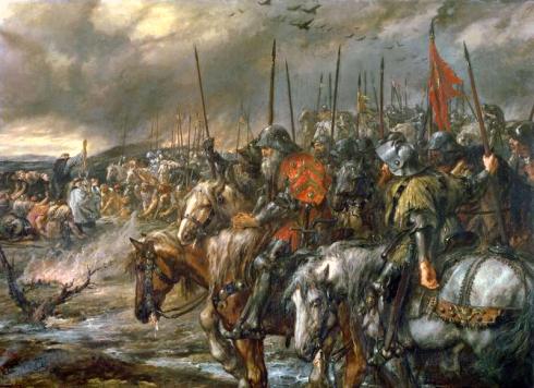 Английските рицари се подготвят за битката