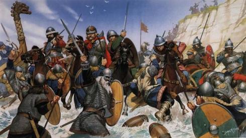 Франкски рицари атакуват викингски нашественици