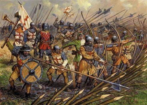 Стрелците с дълъг лък започнали д аизползват подострени колове за да се бранят от настъпващата вражеска конница.