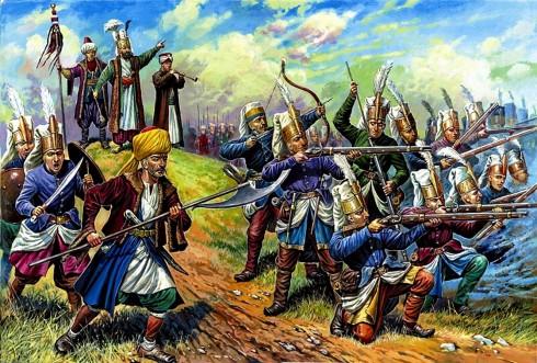 Полумесецът от белите шапки строен на бойното поле означавал, че враговете на падишаха ги чакали сериозни проблеми...