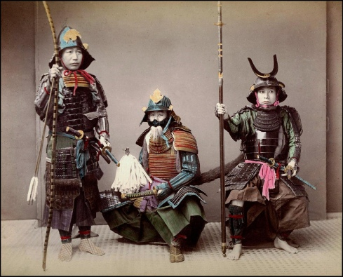 Самураи от XIX век в традиционни брони