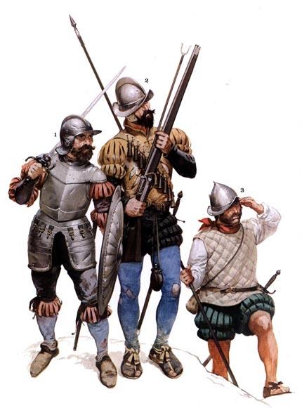 Испанските войници били до един ветерани, често започнали своята воинска кариера преди да навършат пълнолетие. Мнозина от тези мъже се записвали в армията едва 13 годишни като помощници, оръженосци и барабанчици. Докато станат на 18 вече били изпечени ветерани с множество битки и рани зад гърба си. Онези от тях, които доживявали Христовата възраст са достоен еквивалент и на най-добрите съвременни командоси.