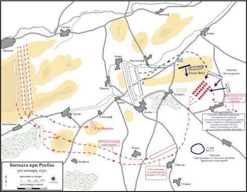 План на битката при Росбах. Пунктираните правоъгълници отбелязват първоначалните позиции на двете армии.