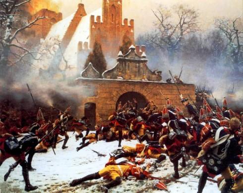 Пруски гренадири щурмуват австрийски позиции в градчето Льойтен