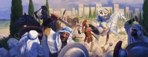 Юдейски въстаници се сражават срещу римски войници,