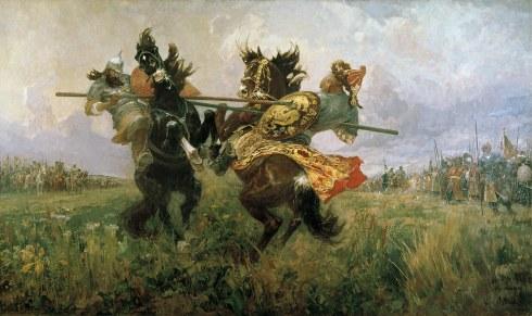 Битката започва с единоборството между монаха Алексей Пересвет и Темир-мирза