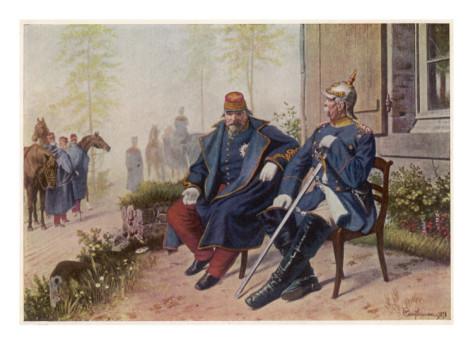 Пленения Наполеон III разговаря с Ото фон Бисмарк след битката при Седан