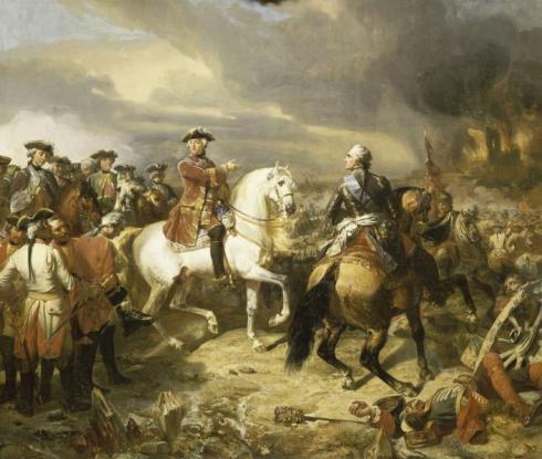 Крал Луи XV и маршал де Закс в битката при Лауфелд