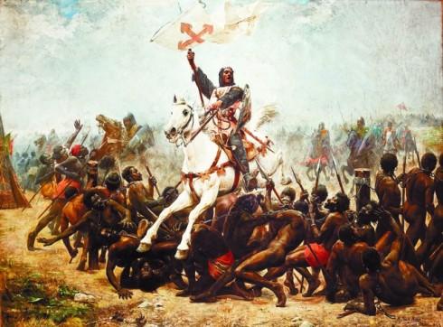 Крал Санчо VII пробива линията от оковани роб-телохранители на халифа и повежда рицарите си към шатрата на алмохадския водач