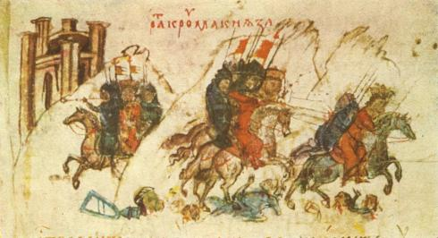 Войската на хан Крум преследва и ранява Никифоровия син и приемник Ставракий (миниатюра от Манасиевата летопис)