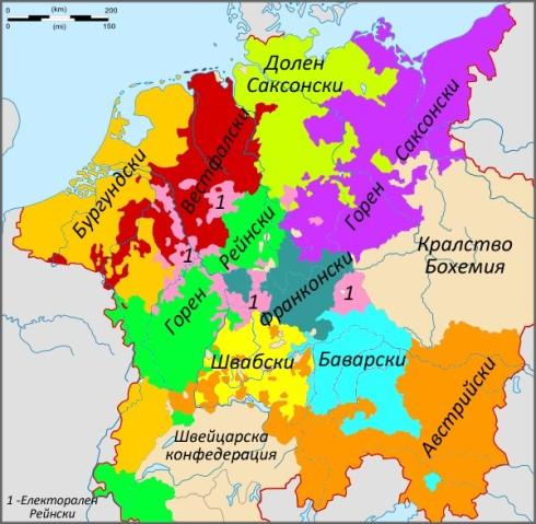 """Имперските """"кръгове"""" към 1618г."""