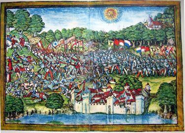 Битката при Зампах, 6ти юли, 1386г., гравюра