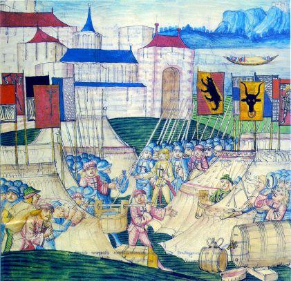 Швейцарците плячкосват Бургундския лагер при Грансон.