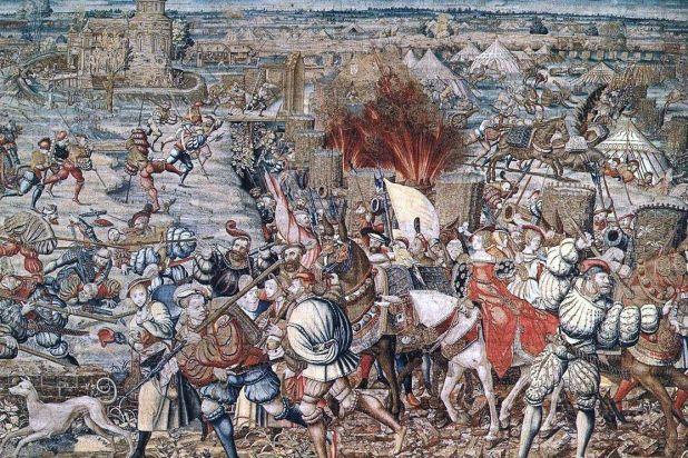 Битката при Павия 24.02.1525г. – лобното място на швейцарската слава. Сцената е от пано, шито в Брюксел около пет години след битката