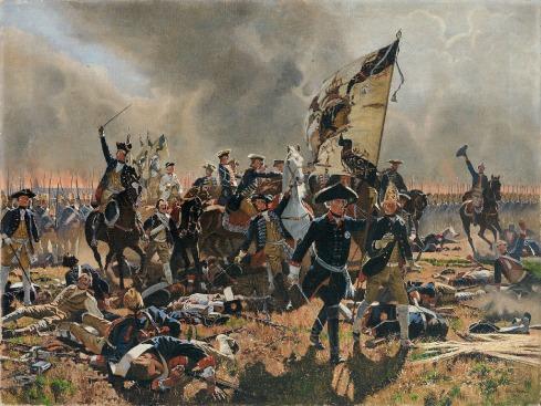 """""""Фридрих Велики в битката при Цорндорф пред полковете на фон Бюлов"""" от Карл Рьохлинг, рисувана през 1904г."""