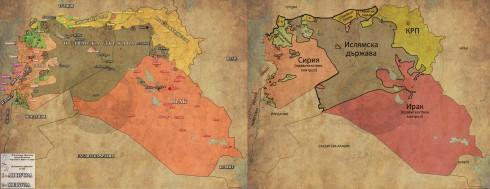 Сирия, Ирак и Ливан - Сега (в ляво) и преди 1 година (в дясно)
