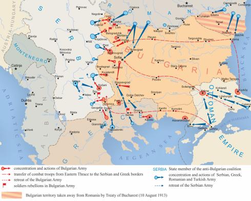 Червените флагчета на картата показват местата на основните войнишки бунтове преди началото на Междусъюзническата война.